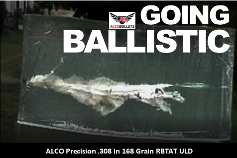 Ballistic Gel testing results for Alco Precision Bullets .308 in 168 grain