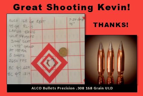 ALCO Customer shares Target for 168 grain .308