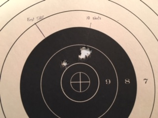 10 holes in One -Target Results 300 Grain in .45 Raptor Bolt Action